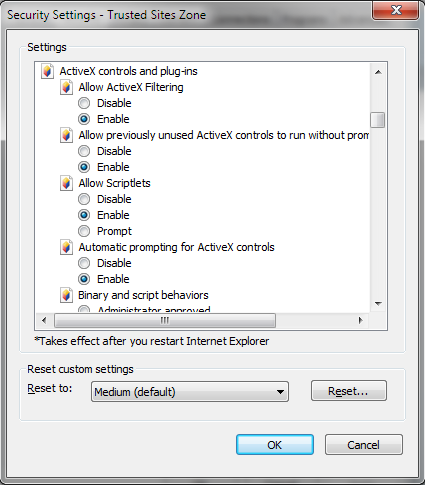 Tridion 2009 IE 9 Active X settings