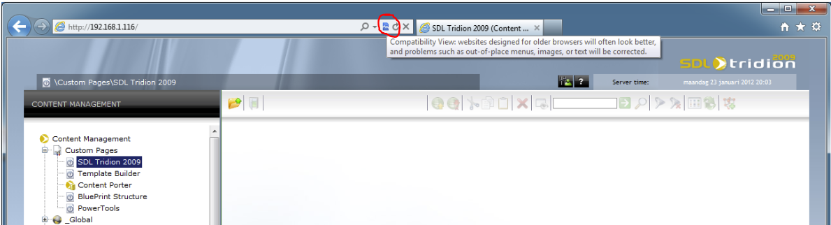 Tridion 2009 Internet Explorer 9 Compatibility Mode