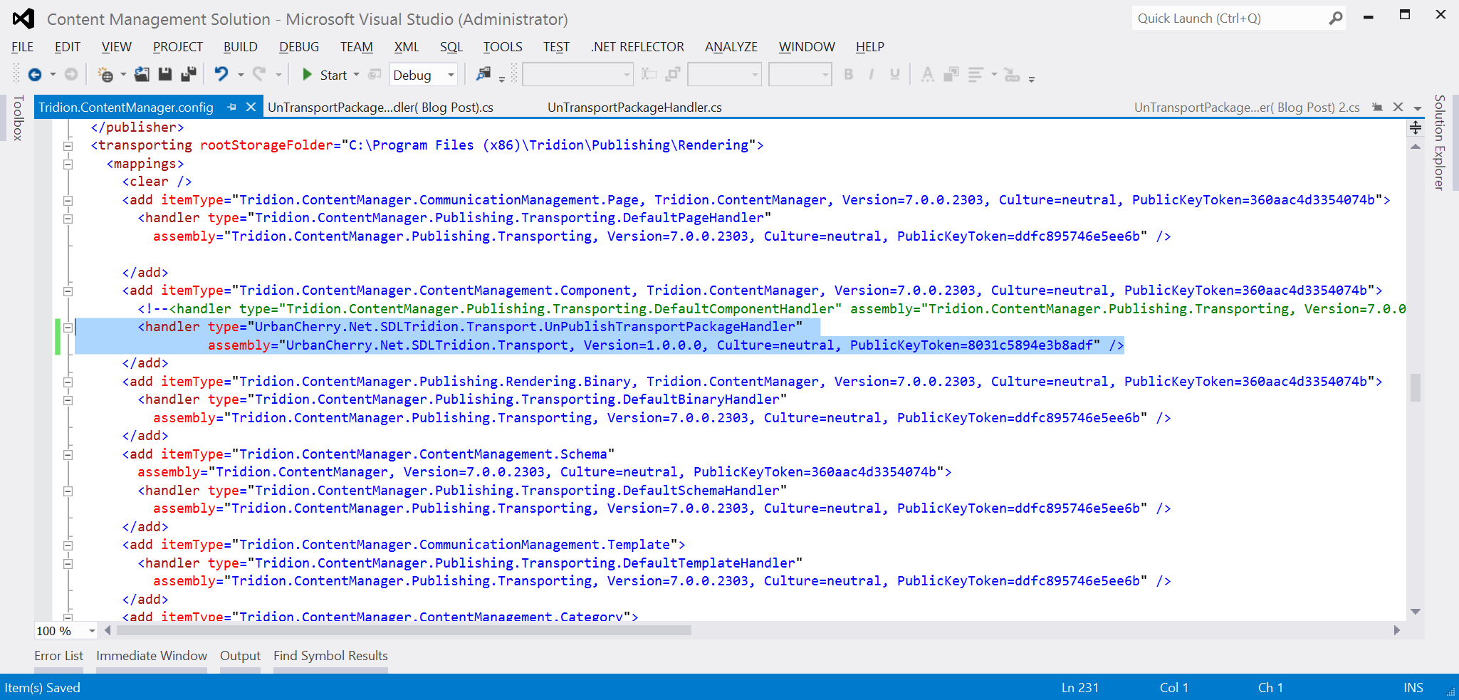 Example Tridion.ContentManager.config file with new handler
