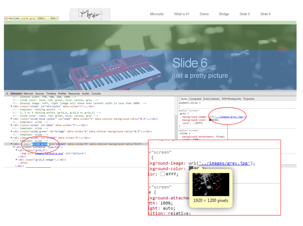 "Using the page's source or ""Inspect Element"" we see that the backgrounds seem to ""belong"" to sets of content."