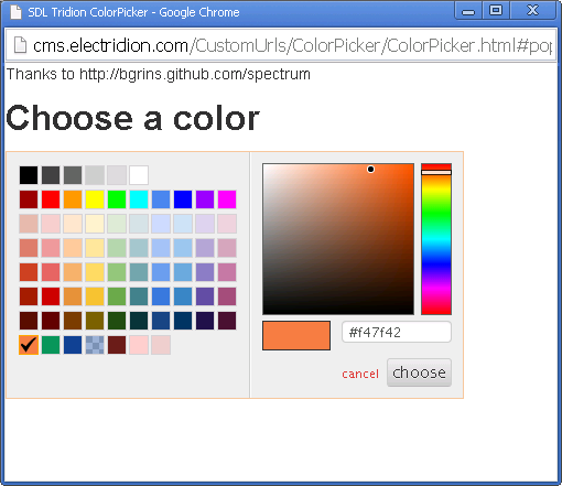 Powered by Spectrum Color Picker